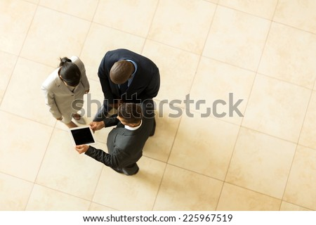 above view of professional business people having meeting - stock photo