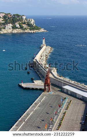 Above View of the Port of Nice, France - stock photo