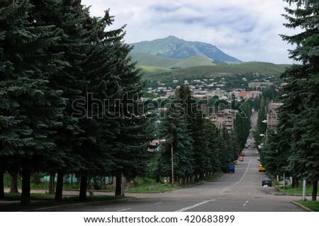 Above view of Vanadzor, Armenia - stock photo