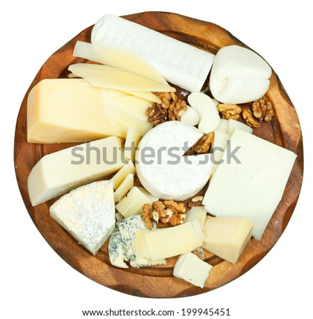 above view of wooden plate with various cheeses isolated on white background - stock photo