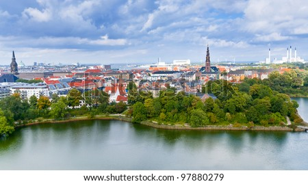 above view on center of Copenhagen, Denmark - stock photo