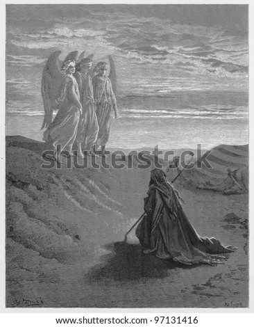 Abraham and the Three Angels - Picture from The Holy Scriptures, Old and New Testaments books collection published in 1885, Stuttgart-Germany. Drawings by Gustave Dore. - stock photo