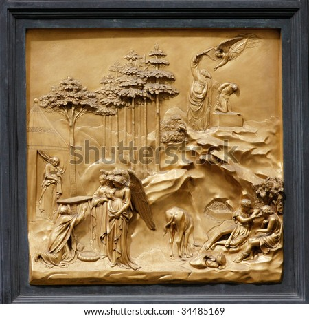 """Abraham by Ghiberti. Detail of the panel on the doors (""""Gates of Paradise"""") of the Duomo Baptistry, Florence, Italy. - stock photo"""