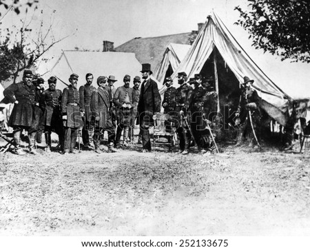 Abraham Lincoln at Antietam, (l-r) Col. Alexander S. Webb, Gen. George B. McClellan, Scout Adams, Dr. Jonathan Letterman, OCtober 3, 1862. - stock photo