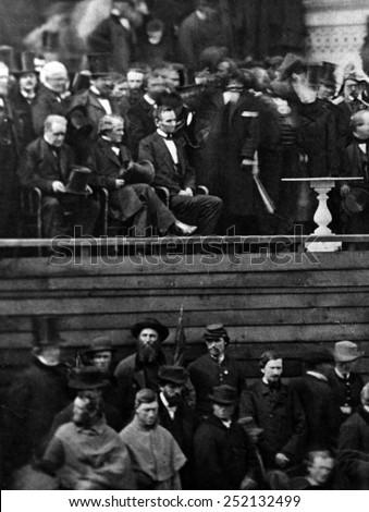 Abraham Lincoln at his 1st inauguration, Washington, D.C., 1861. - stock photo