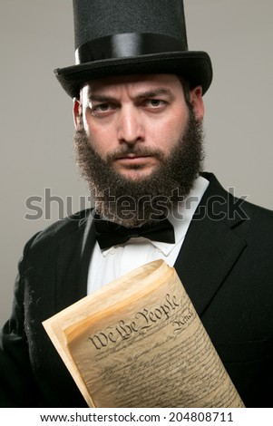 Abraham Lincoln - Constitution - Background - stock photo