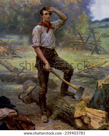 Abraham Lincoln (1809-1865) depicted as a frontier rail splitter in 1909 commemorative portrait. - stock photo