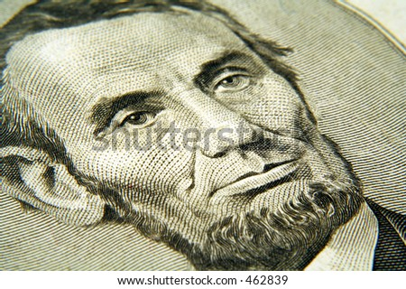 Abraham Lincoln from the five dollar bill. - stock photo