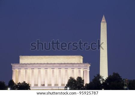 Abraham Lincoln Memorial and Washington Monument, at sunset, Washington, DC, United - stock photo