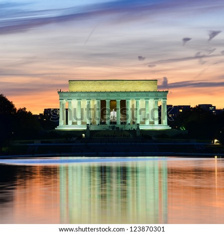 Abraham Lincoln Memorial at night - Washington DC, United States - stock photo
