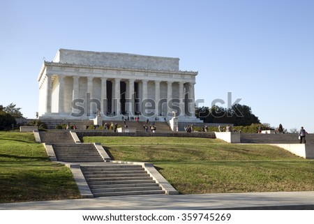 Abraham Lincoln Memorial building in Washington DC.  - stock photo