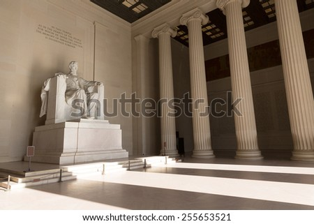 Abraham Lincoln Memorial building Washington DC US USA - stock photo