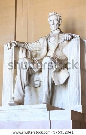 Abraham Lincoln monument in Washington, DC - stock photo