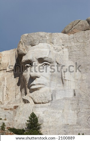 Abraham Lincoln - mount rushmore national memorial - Stone Sculptures of George Washington, Thomas Jefferson, Theodore Roosevelt, and Abraham Lincoln - black hills, south dakota, USA