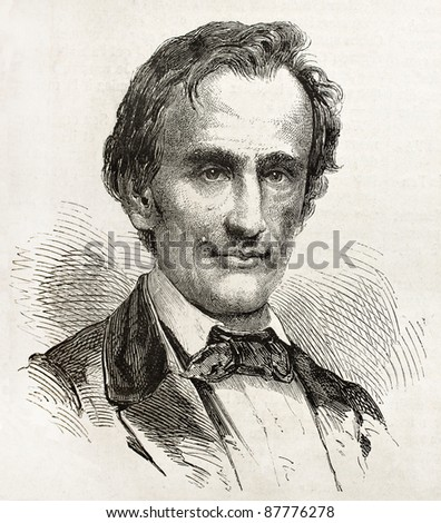 Abraham Lincoln old engraved portrait, Republican Presidential candidate in 1861. Created by Bayard, published on L'Illustration, Journal Universel, Paris, 1860