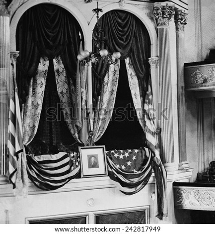 Abraham Lincoln's assassination took place in the flag draped President's box at Ford's Theatre on April 14, 1865. - stock photo