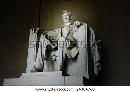 Abraham Lincoln statue at  Lincoln Memorial - stock photo