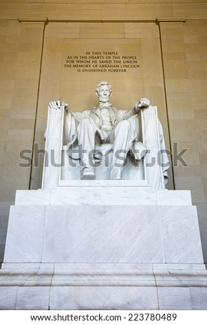 Abraham Lincoln Statue at Lincoln Memorial - Washington DC, United States. - stock photo