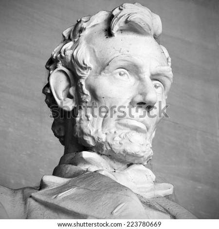 Abraham Lincoln Statue at Lincoln Memorial - Washington DC, United States. Black and white head view of Lincoln. - stock photo