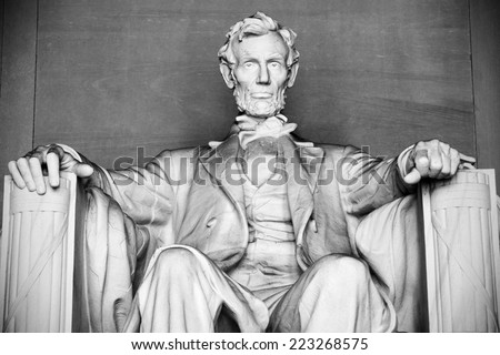 Abraham Lincoln Statue at Lincoln Memorial - Washington DC, United States. Black and white photo. - stock photo