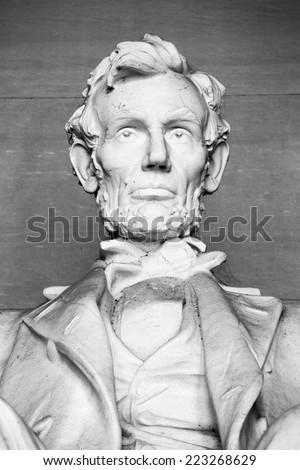 Abraham Lincoln Statue at Lincoln Memorial - Washington DC, United States. Black and white photo. - stock photo