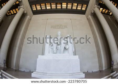 Abraham Lincoln Statue at Lincoln Memorial - Washington DC, United States. Fisheye picture. - stock photo