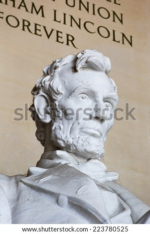 Abraham Lincoln Statue at Lincoln Memorial - Washington DC, United States. Head and shoulders view of Lincoln. - stock photo