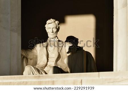 Abraham Lincoln Statue detail at Lincoln Memorial - Washington DC, United States  - stock photo