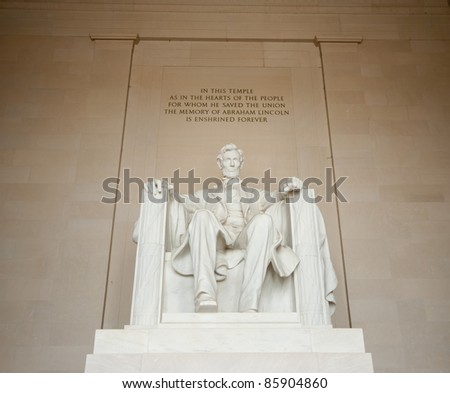 Abraham Lincoln statue in Lincoln memorial, Washington DC - stock photo