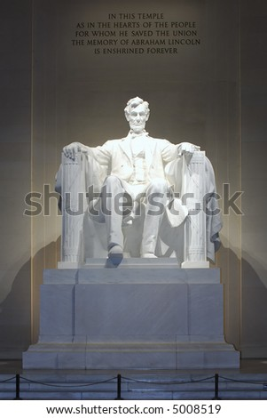Abraham Lincoln Statue in the Lincoln Memorial at night, Washington, DC - stock photo