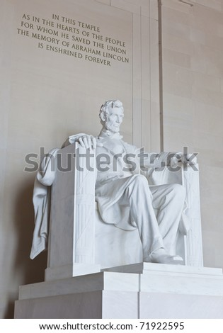 Abraham Lincoln statue in the Lincoln Memorial in Washington DC - stock photo