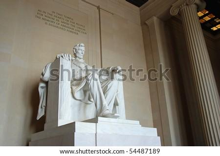Abraham Lincoln statue in the Lincoln Memorial, Washington DC - stock photo