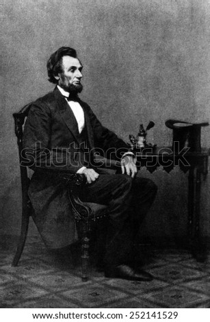 Abraham Lincoln, (1809-1865), U.S. President 1861-1865, in a photograph by Mathew Brady, c 1860's.