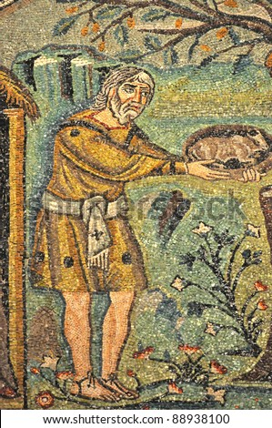 Abraham offers a gift to three mysterious strangers, who predict that he will be a father again. Scene from UNESCO listed byzantine mosaics in the St Vitalis basilica, Ravenna,  Italy - stock photo