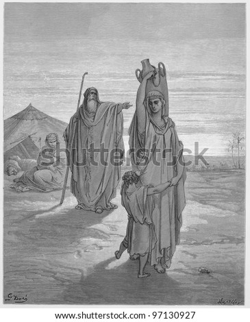 Abraham sends Hagar and Ishmael away - Picture from The Holy Scriptures, Old and New Testaments books collection published in 1885, Stuttgart-Germany. Drawings by Gustave Dore. - stock photo