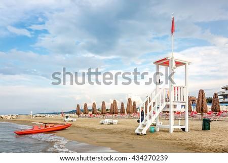 Abruzzo, Italy, Adriatic Sea: Lifeguard watchtower on the beach. - stock photo