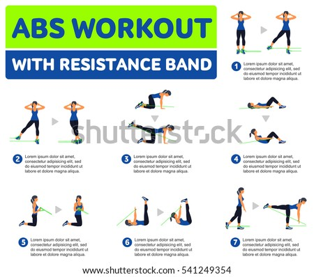 Abs Workout WITH RESISTANCE BAND Fitness Aerobic And Exercise In Gym Set