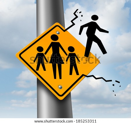 Absent dad or deadbeat father concept as a traffic sign with a mother and two children and a daddy icon abandoning and leaving the family to avoid child support after a divorce or separation. - stock photo