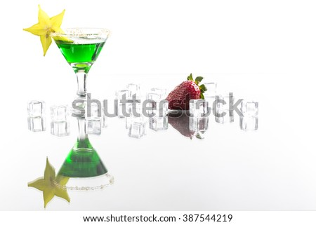 absinth in cocktail glass with reflection