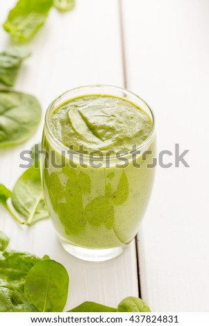 Absolutely Amazing Tasty Green Avocado Shake or Smoothie, Made with Fresh Avocados, Banana, Lemon Juice and Non Dairy Milk (Almond, Coconut) on White Wooden Background, Raw Food, Vegan Food Conception - stock photo
