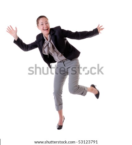 Absolutely happy laughing and jumping woman isolated on white background