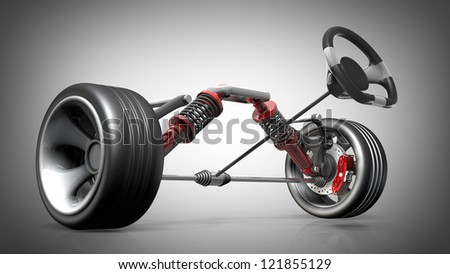 absorber,  brake pads and Wheels. High resolution 3d render - stock photo