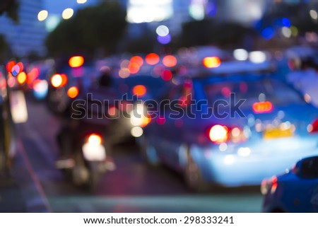 Abstact blur bokeh of Evening traffic jam on road in city. - stock photo