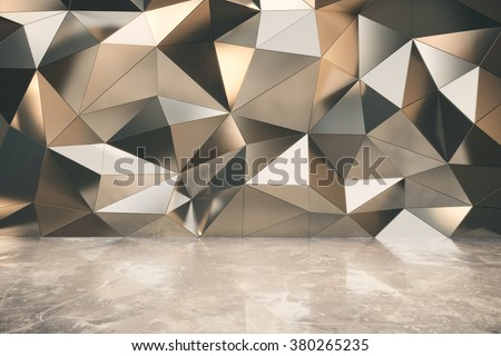 Abstact exterior with concrete floor and 3d futuristic wall 3D Render - stock photo
