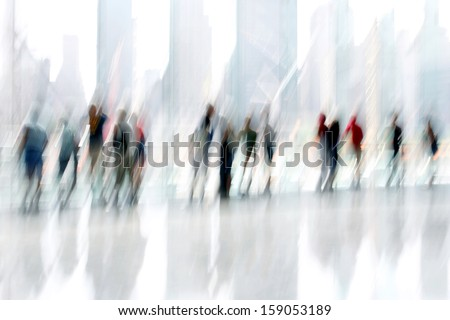 abstakt image of people in the lobby of a modern business center with a blurred background - stock photo