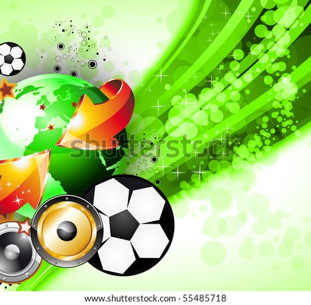 Abstrac World Football ChampionShip Disco Party Flyer Background - stock photo