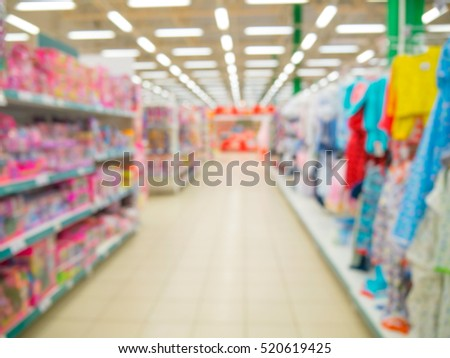 Abstrackt blurred of kids wear and toys of departament store background with bokhe