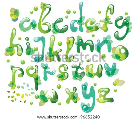 Abstract ABC,green alphabet with leaves, illustration