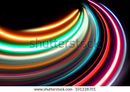 abstract acceleration speed motion on night road - stock photo