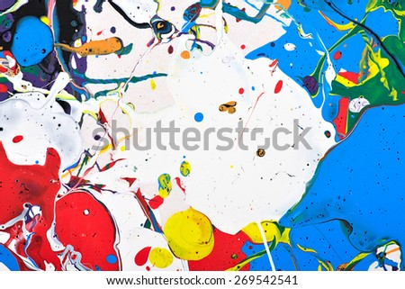 Abstract acrylic modern painting fragment. Colorful rainbow splashes texture. Contemporary art. Spray paint.  - stock photo